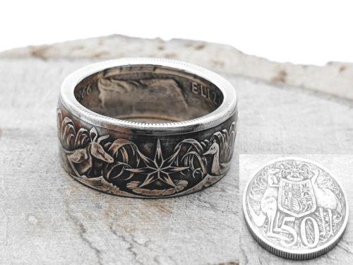 800er Silberring, aus 50 Cent Münze (Australien) / personalisierbar