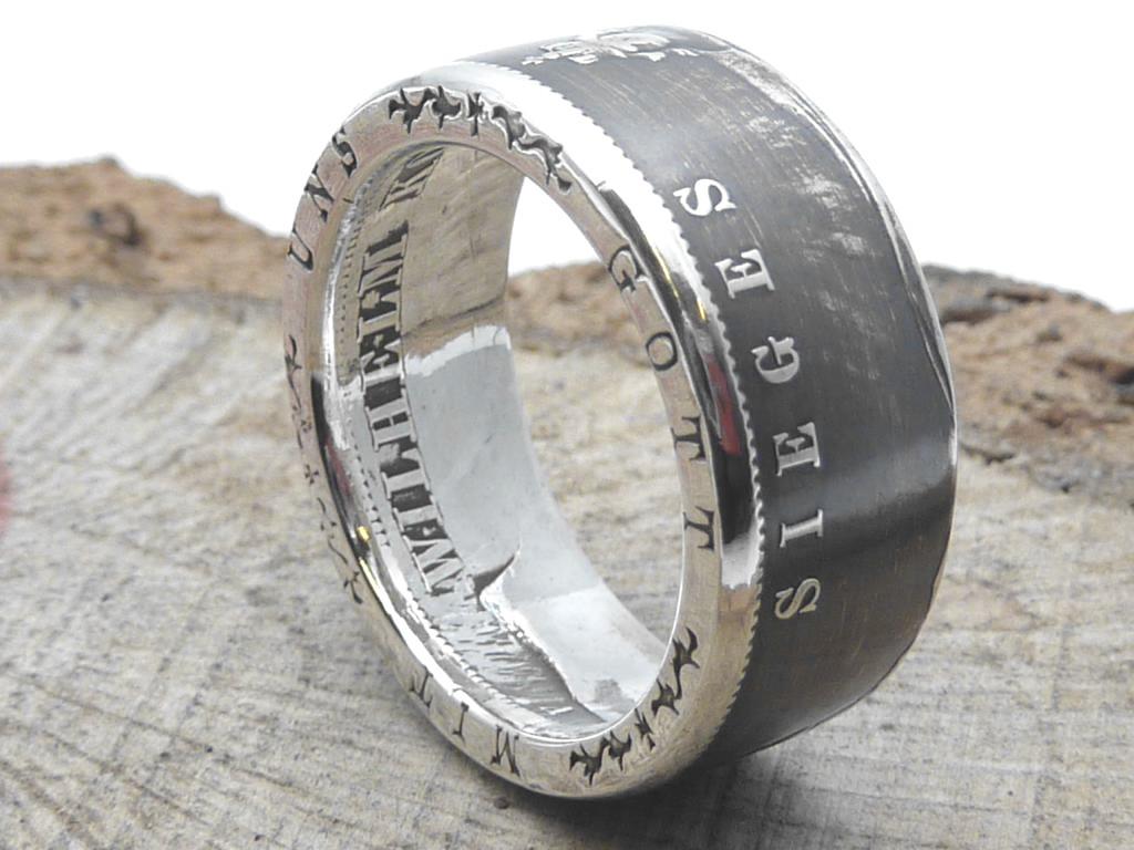 900er Silberring aus 3 Mark, Sieges-Thaler- (Kaiserzeit) / personalisierbar