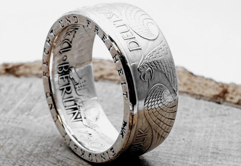 925er Münzring aus 10 DM Münze / personalisierbar