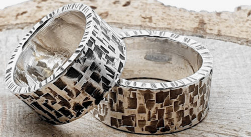 925er Silber Partner/Eheringe, gehämmert / personalisierbar