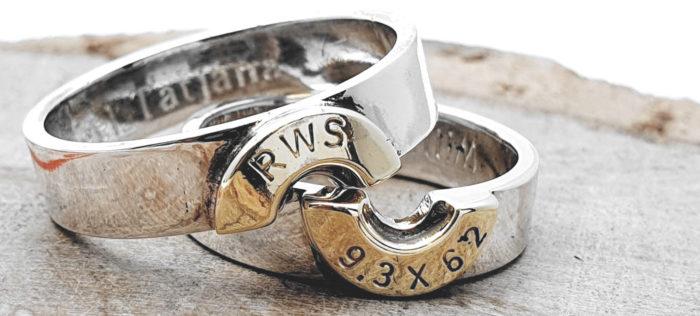 925er Silber Partner/Eheringe / personalisierbar / Patronenhülse (vergoldet)
