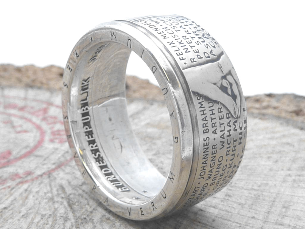925er Silberring aus 10 DM Münze / personalisierbar