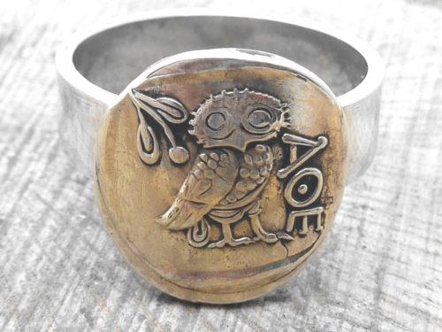 925er Silberring, mit griechischer Münze