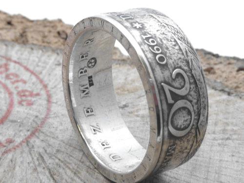 999er Silberring, aus original 20 Mark (DDR) / personalisierbar