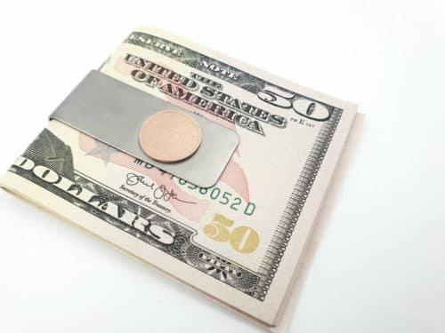 Geldklammer mit Glückspfennig Münze