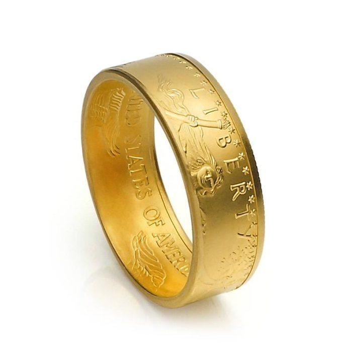 Goldring (91,66% Feingoldanteil) aus 1/2 oz. American-Eagle-Dollar- Münze / personalisierbar