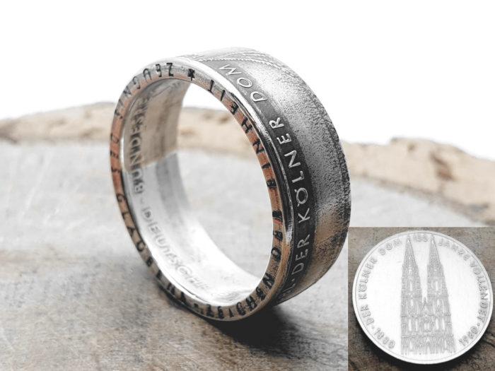 Ring aus 5 DM Münze 1980 (Könlner Dom) / personalisierbar