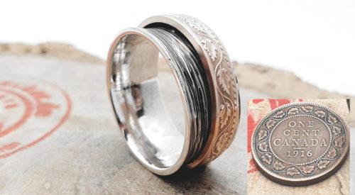 925 Silberring mit 1 Cent Münze (Canada) mit Gravur