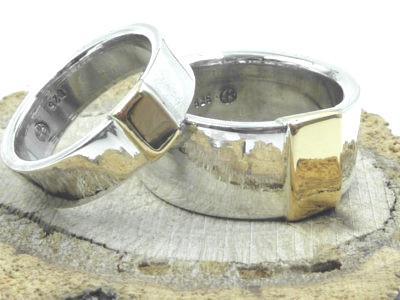 925er Silberringe, 585 Goldplatte / personalisierbar