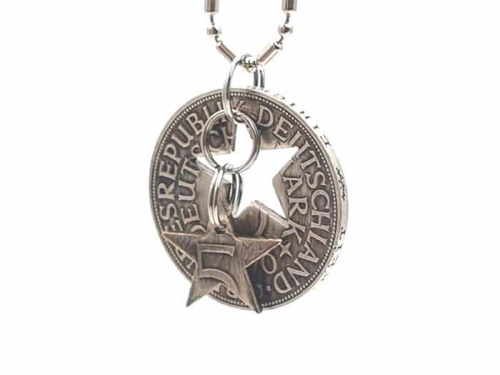 Münzanhänger aus 5 DM Silbermünze und Wunschjahrgang