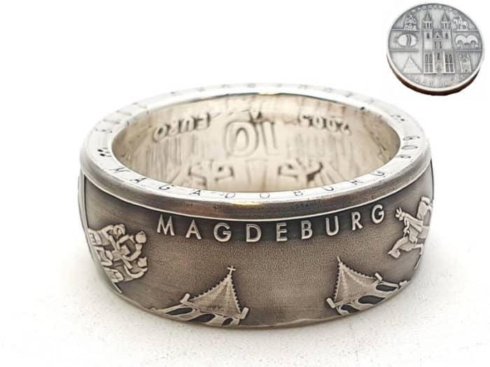 Münzring 10 Euro Magdeburg Silber 925er personalisierbar