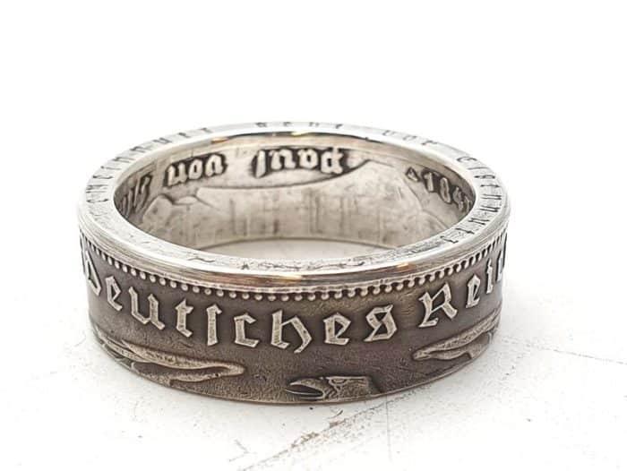 Münzring 5 Reichsmark 1934-39 Silber 900er mit Gravur