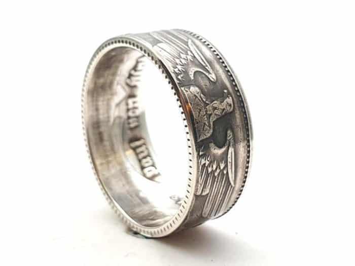 Münzring 5 Reichsmark Silber 900er mit Gravur