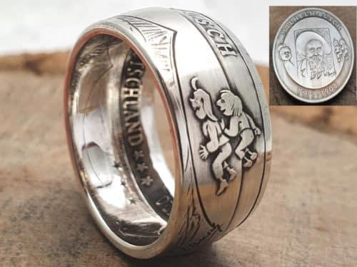 Münzring Silber 10 Euro Motiv Max und Moritz personalisierbar
