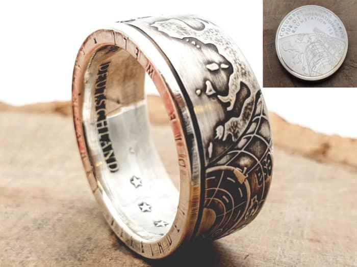 Münzring Silber Motiv Raumstation-ISS personalisierte Gravur
