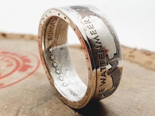 Münzring Silber Motiv Wattenmeer personalisierte Gravur