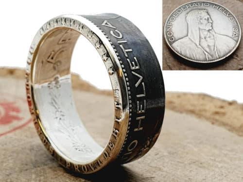 Münzring Silber aus 5 Franken Schweiz personalisierbar