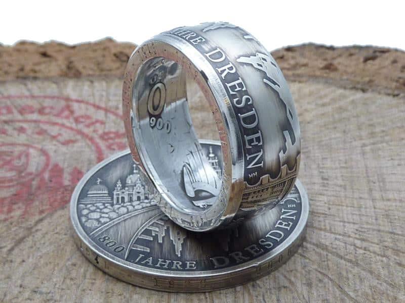 Münzring aus 10 Euro 800 Jahre Dresden Silber 925er personalisierbar