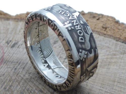 Münzring aus 20 Franken Silber Münze Schweiz personalisierbar