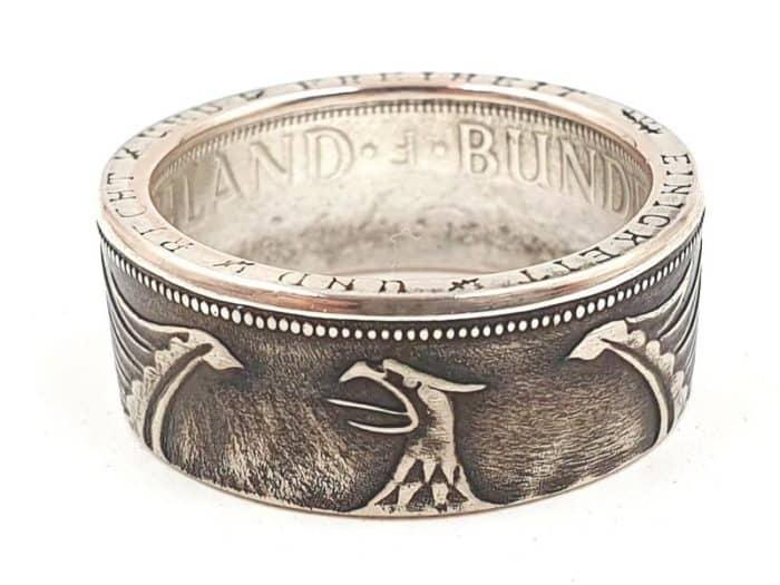Münzring aus 5 DM Silbermünze Adler außen