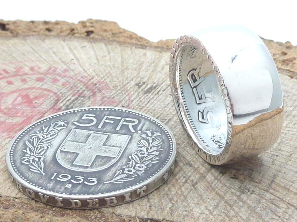 Münzring aus 5 Franken Silber Münze personalisierbar