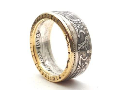 Münzring aus 5 Reichsmark teilvergoldet mit personalisierter Gravur