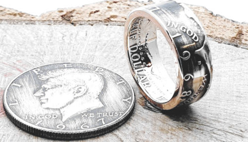 Münzring aus einer original 1/2 Dollar Münze / personalisierbar