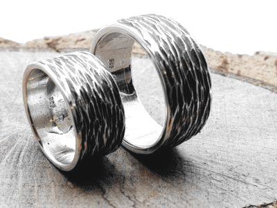 Partner/Eheringe (925er Silber) gehämmert / personalisierbar