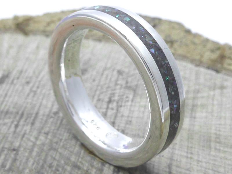 Silberring »Abalone Perlmutt, Ringgröße: 61/19,4 mm