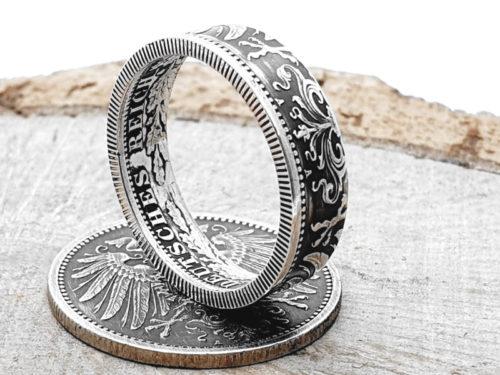 Silberring aus 1 Mark (Kaiserzeit)