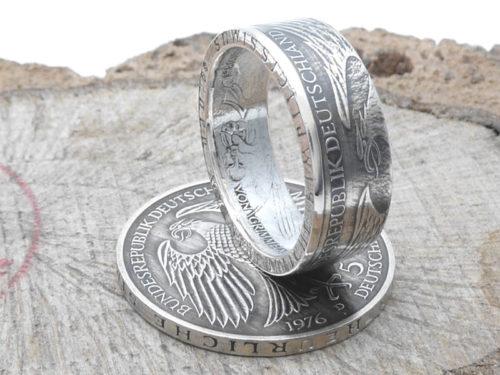 Silberring aus 5 DM, Jahrgang 1976 / personalisierbar