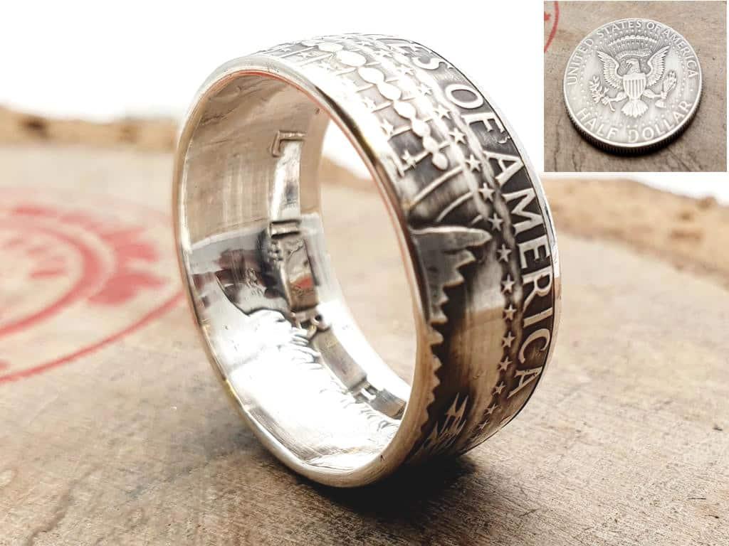 Silberring aus half Dollar J.F. Kennedy USA personalisierbar
