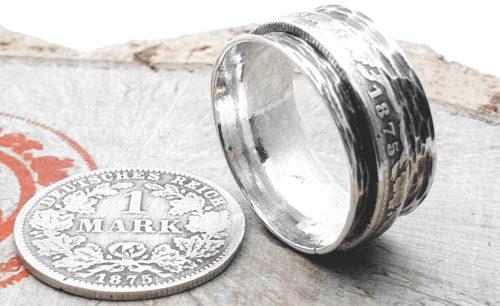 925er Silber, Drehring, original Münze (Kaiserzeit) / personalisierbar