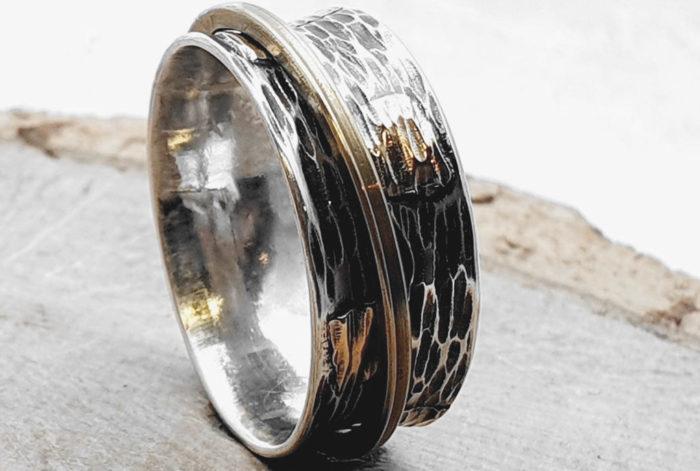 925er Silberring / Drehring / Goldplättchen / personalisierbar