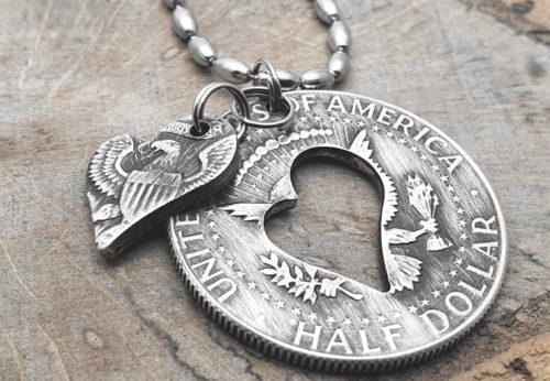 Münzanhänger aus 1/2 Dollar Silbermünze (USA)