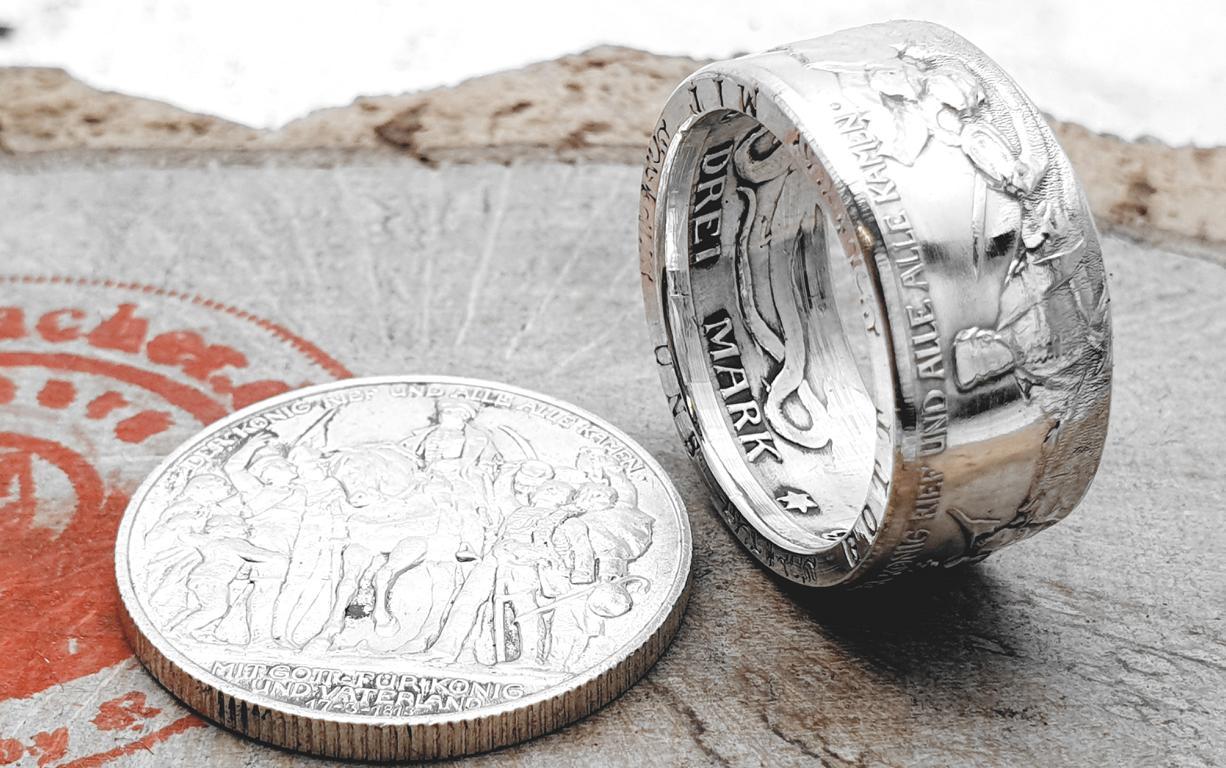 Münzring, 3 Mark Kaiserreich 1913 der König rief Silber 900er / personalisierbar