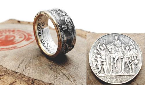 Münzring 3 Mark Kaiserreich 1913 der König rief Silber 900er/ teilvergoldet / personalisierbar
