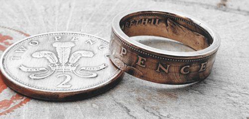Münzringe aus 2 Pence Münze (England)
