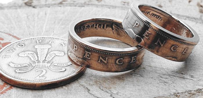 Partner/ Eheringe aus 2 Pence Münze (England)