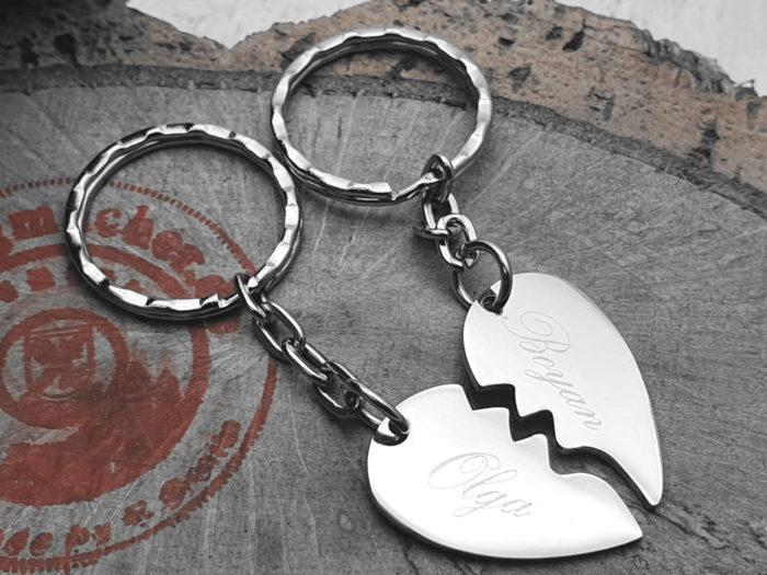 Partner- Schlüsselanhänger (Herz) personalisierbar