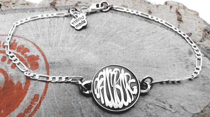 "925er Silber – Armband mit Münze, Schriftzug ""Naumburg"""