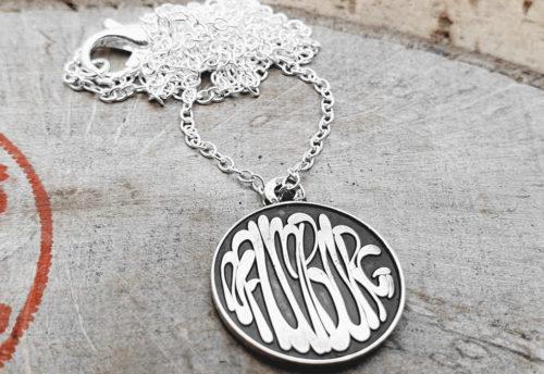"""925er Silber – Halskette mit Münze, Schriftzug """"Naumburg"""""""
