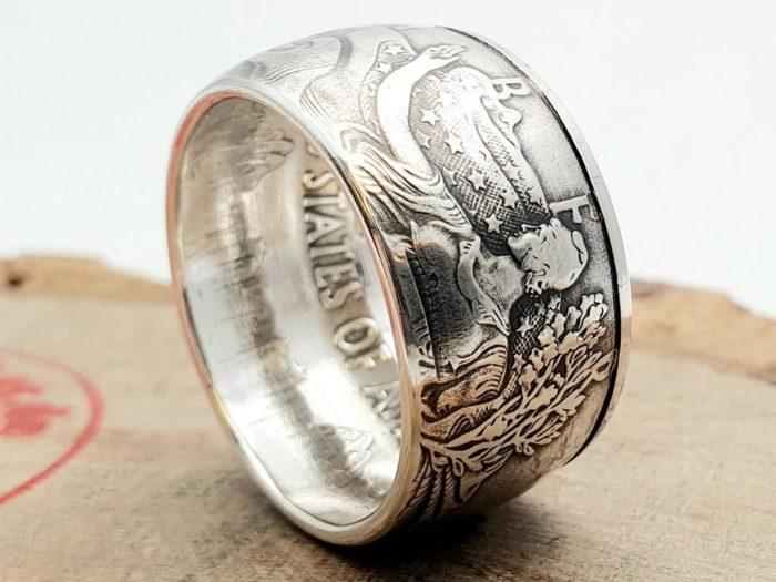 Massiver 999er Silberring aus einem American Silver Eagle Dollar