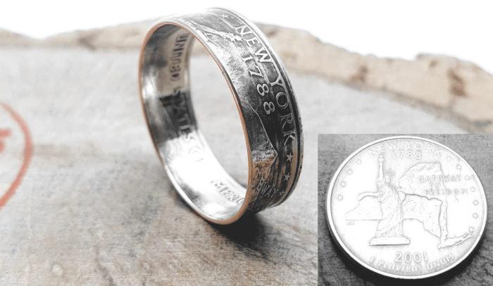 Münzring aus Quarter Dollar Münze – USA (Verschiedene Bundesstaaten)