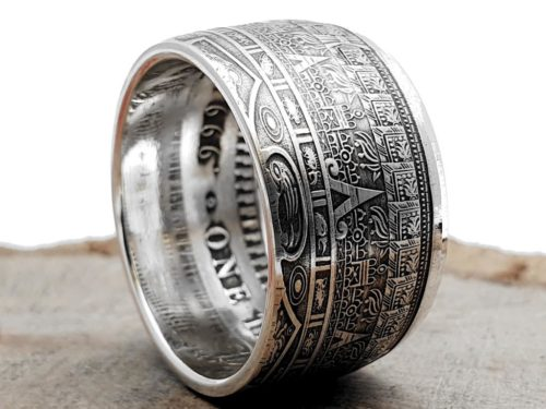 Massiver 999 Silberring, Münzring, Maya-Kalender-Ring