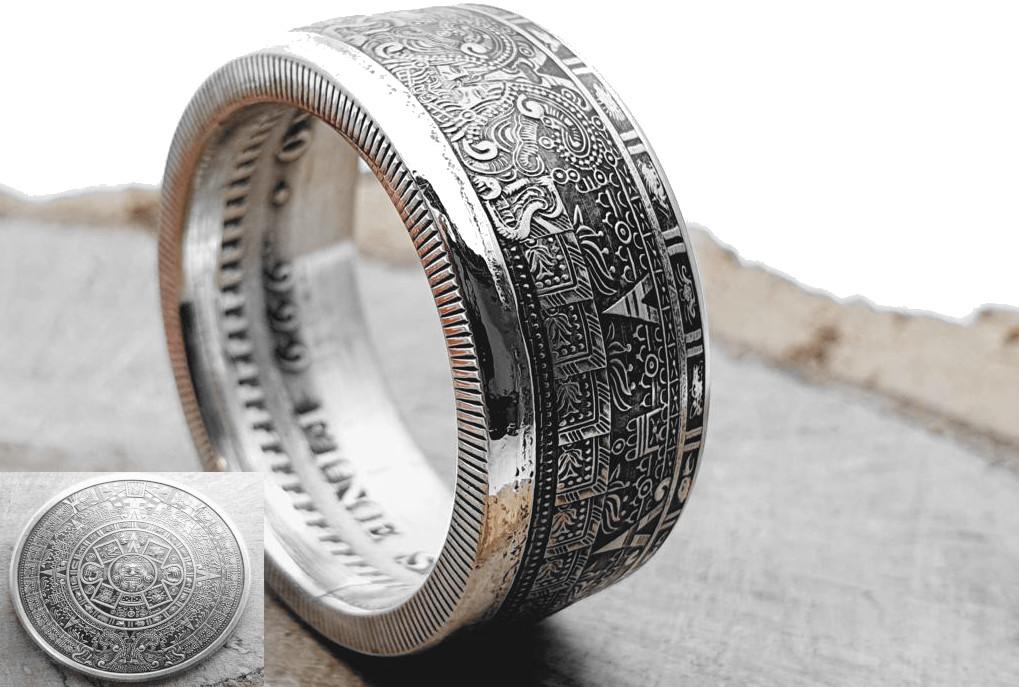 Massiver 999 Silberring, Aztek Sonnengott Münzing, Maya-Kalender-Ring