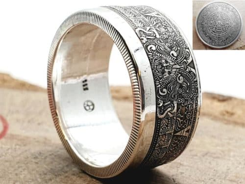 Münzring Silber mit Motiv Maya Kalender