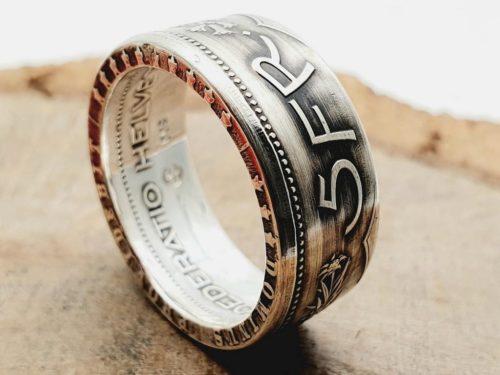 835er Silber / Münzring aus 5 Franken Münze (Schweiz) / personalisierbar