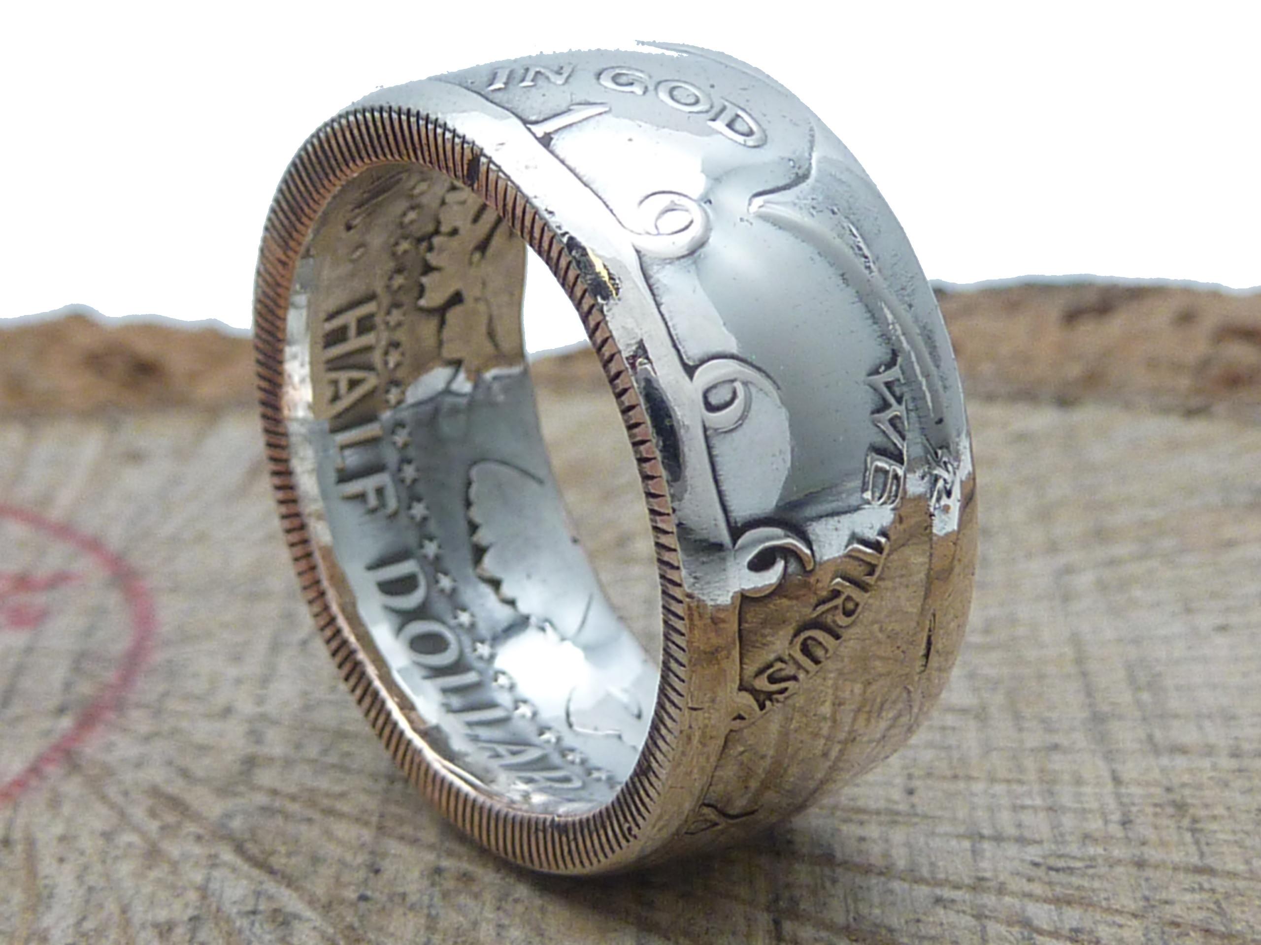 900er Silberring, 1/2 Dollar USA Kennedy / personalisierbar