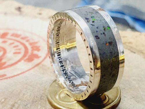 925er Silberring Inlay Opal Bandring mit Opalsplitter_ personalisierbar.